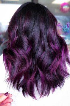 Purple balayage purple balayage # brunette # purple hair purple and black hair Purple Hair balayage Black brunette hair purple Dark Purple Hair, Hair Color Purple, Hair Dye Colors, Hair Color For Black Hair, Cool Hair Color, Purple Hair Tips, White Hair, Purple Ombre Hair Short, Unique Hair Color