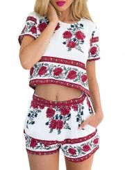 Elegant Jumpsuit Romper Two-piece Suit Boho Flower Print Playsuit Women Summer Style Overall Casual Beach Leotard body femme White Short Sleeve Tops, Short Tops, Casual Summer Dresses, Trendy Dresses, Dress Casual, Crop Top Und Shorts, Crop Tops, Short Floral, Floral Tops