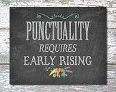 Chalkboard Printable PUNCTUALITY REQUIRES Digital print Chalkboard sign Chalkboard digital Wall art Wall print Chalkboard decor Kids art