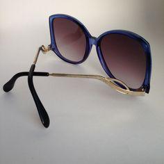 Vintage 70s Oversized Iconic Joplins Jewel Blue Sunglasses by ENGARLAND on Etsy
