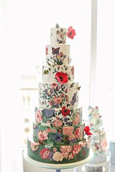 Fabulous hand-painted wedding cakes are popping up all over wedding cake world. Floral Wedding Cakes, Wedding Cakes With Flowers, Wedding Cake Designs, Cake Wedding, Wedding Shoes, Beautiful Wedding Cakes, Gorgeous Cakes, Pretty Cakes, Amazing Cakes