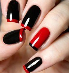 Black & red gelish nails