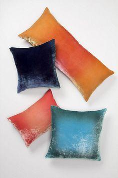 Coral Ombre Velvet Pillow - Anthropologie.com