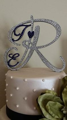Monogram Wedding Cake Topper Crystal Initial Any Letter