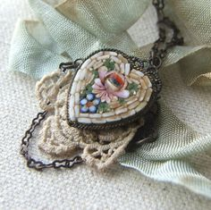 Heart Jewelry Repurposed Vintage Micro Mosaic Pendant Necklace, Antique Lace, Mothers Day