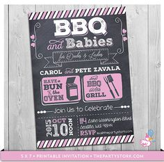 BBQ and Babies Baby Shower Invitation Printable by thepartystork