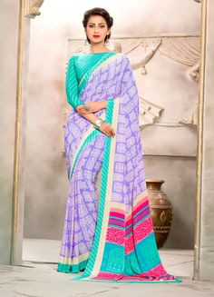 Purple Silk Crepe Printed Saree With Blouse 69094