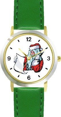 Santa Claus with List on Phone Christmas Theme - WATCHBUDDY® DELUXE TWO-TONE THEME WATCH - Arabic Numbers - Green Leather Strap-Children's Size-Small ( Boy's Size & Girl's Size ) WatchBuddy. $49.95. Save 38%!