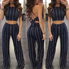 Spring Trendy Stripe Cropped Flares Pantsuit Teen Fashion Outfits, Chic Outfits, Trendy Outfits, Girl Outfits, Fashion Dresses, Summer Birthday Outfits, Summer Outfits For Teens, Mode Rockabilly, Tumblr Outfits