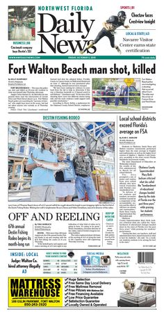"""The Oct. 2, 2015, front page of the Northwest Florida Daily News: """"Fort Walton Beach man shot, killed"""""""