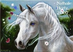 ACEO Limited Edition PRINT Unicorn Horse Flower Fantasy ART