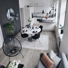 Beautiful Small Living Rooms That Work. Check out these small living room id. Beautiful Small Living Rooms That Work. Check out these small living room ideas and design schem Small Apartment Living, Small Living Rooms, Home Living Room, Modern Living, Small Living Dining, Small Living Room Kitchen Ideas, Small Apartment Interior Design, Small Living Room Designs, One Room Apartment