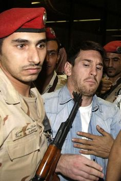 """You need to be more careful around my Messi! Get that gun out his face! """"Barcelona Superstar Lionel Messi Arrives In Saudi Arabia For A Promotional Event"""" Cr7 Vs Messi, Messi Soccer, Messi And Ronaldo, Soccer Memes, Football Memes, Soccer Quotes, Neymar, Cristiano Ronaldo, Ronaldo Real"""