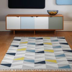 Hackney Kelims Geo Mustard Rug from Sizes range from x to x Available only as Rectangle. Painted Furniture, Home Furniture, Bedroom Furniture, Retro Furniture, Country Furniture, Country Decor, Furniture Ideas, Tapis Design, Retro Home