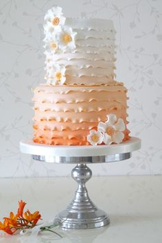 """Orange 0,A colourful ombre style cake sizes 5"""" and 7"""",  can be done in any colour of your choice."""