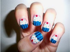 13 Food Nails Inspired by the Love of Food - Cupcakes with a cherry on top manicure.
