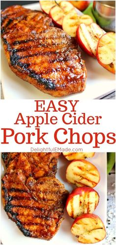 The ultimate recipe for glazed pork chops! Coated with an apple cider glaze, and grilled to perfection, these sweet and savory apple cider chops are perfect any time you're in the mood for meat!    Delightful E Made Cider Pork Chops, Peach Pork Chops, Smoked Pork Chops, Marinated Pork Chops, Honey Garlic Pork Chops, Glazed Pork Chops, Juicy Pork Chops, Apple Pork Chops, Grilled Pork Loin Chops
