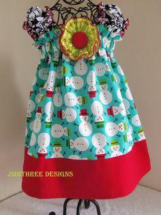 Free Shipping in U.S. NEW Christmas Snowmen Dress  in your choice of size 0-3m, 3-9m, 9-12m, 12-18m, 18-24m, 2t, or 3t. $35.00, via Etsy.