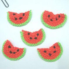 Nuevo 100 unids 4 cm hechos a mano crochet flower apliques sandía pelo sombrero diadema ropa accesorios envío gratis