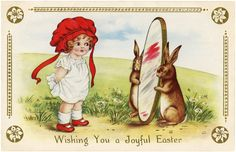 Easter Girl with Bunny Image