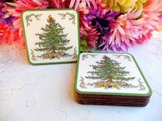 6 Beautiful Spode Christmas Tree Coasters