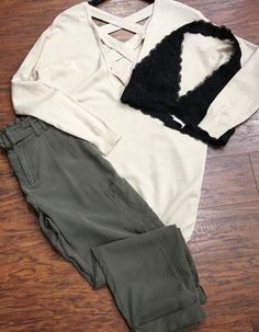 |||Olive You 💕|||xoxo :::Criss Cross back detail sweater •Joggers ($54) •Bralette ($18):::Pair with white basic T; grey leather jacket; duster vest; and high pony; peek toe heels for alternative looks  . For immediate assistance or to ORDER call ☎️701-356-5080 (We Ship📦