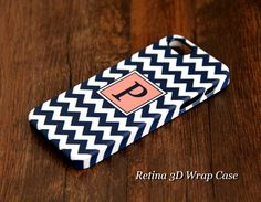 Navy Blue Chevron Monogram iPhone 5S/5C/5/4S/4 3D Wrap Case