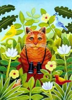 Bird Watching Cat by Elizabeth Brownd. #cats #art #cute