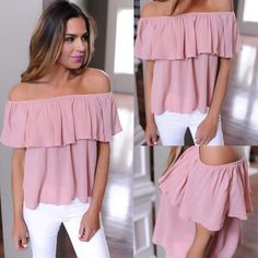 Off Shoulder Ruffle T-shirts