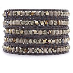 Chan Luu - Pyrite Beaded Mix Wrap Bracelet on Natural Grey Leather, $295.00 (http://www.chanluu.com/wrap-bracelets/pyrite-and-crystal-wrap-bracelet-on-natural-grey-leather/)
