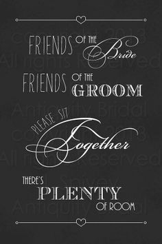 Wedding Seating Sign. Etsy Shop. Print. Friends of the bride, friends of the groom, please sit together, there's plenty of room!