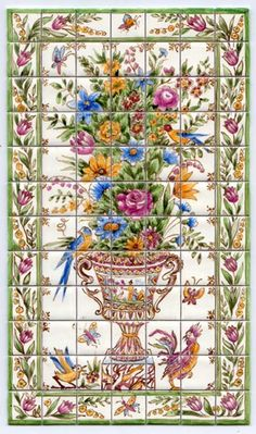 Flowers - tiny-ceramics, real ceramic miniature tiles 1:12 scale; terra-cotta or glazed, hand painted, made to measure