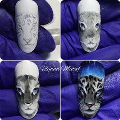 Animal Nail Designs, Animal Nail Art, Nail Art Designs Videos, Cute Nail Designs, Nail Art Hacks, Lily Nails, Self Nail, Photo Grid, Painted Nail Art