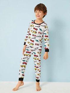 Boys Cartoon Car Print PJ Set – Agodeal Young Cute Boys, Cute Teenage Boys, Big Boys, Boys Sleepwear, Girls Pajamas, Satin Pj Set, Cartoon Letters, Photography Poses For Men, Pj Sets