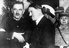 The Nazi Propaganda image shows Adolf Hitler with Bernhard Rust (l, 1934 until 1945 Reich Minister for Science, Education and National Culture) after a rally in Detmold, Germany, 10 January 1933. The rally was held before the state election in Lippe on 15 January 1933, in which the NSDAP received the most votes. Photo: Berliner Verlag/Archiv