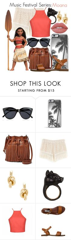 """Music Festival Series #8: Moana"" by disneygirl22 on Polyvore featuring Le Specs, Zero Gravity, FOSSIL, Balenciaga, Nisan, Ally Fashion, Steve Madden, Lime Crime, disney and disneybound"