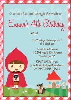 Little Red Riding Hood INVITATIONS - Printable PDF Birthday Party. $8.00, via Etsy.