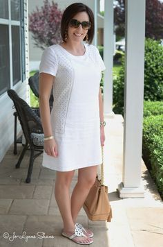 Fashion Over Daily Mom Style - Your Stitch Fix Outfits - Jo-Lynne from Jo-Lynne Shane looks so fresh and summery in that cute white frock she scored in a pr - Summer Outfits Women, Womens Fashion Casual Summer, Womens Fashion For Work, Woman Outfits, Summer Dresses, Fashion For Women Over 40, Black Women Fashion, White Frock, Stitch Fix Outfits