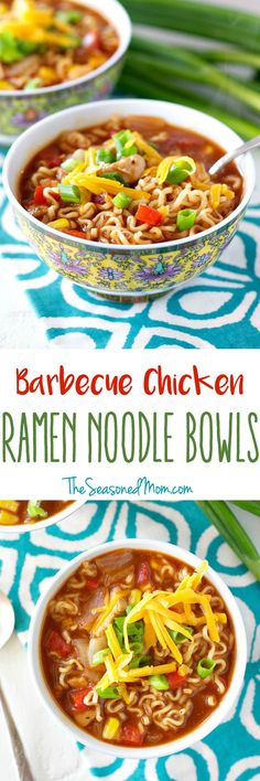 The classic dorm room favorite gets an upgrade in these Barbecue Chicken Ramen Noodle Bowls! The easy soup recipe is a healthy dinner option that only requires 10 minutes of prep!