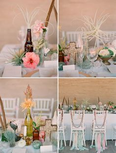 In Love + Shipwrecked: Part 1  non-traditional flowers were used such as green berzelia, peach spider mums, leucadendron gold strike, kale, tulips, dahlias, amaryllis, fern, ranunculus and freesia.