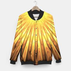 Gold Sun Baseball Jacket, Live Heroes @liveheroes by @photography_art_decor. All product: https://liveheroes.com/en/brand/oksana-fineart #fashion #clothing #online #shop #liquid #psychedelic #abstract #golden #metalic #gold #sun #yellow #abstract #ray #briht #pattern #wave #trendy #stylish #fashionable #modern #awesome #amazing #clothes #summer