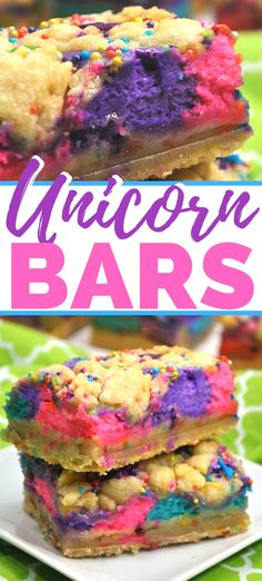 delicious unicorn bars do in fact taste as amazing as they look! They are the perfect mix between a sugar cookie and cheesecake -- so yummy! Easy Soup Recipes, Baking Recipes, Cookie Recipes, Dessert Recipes, Bar Recipes, Delicious Vegan Recipes, Delicious Desserts, Yummy Food, Vegan Desserts