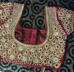 Purple Stone Work Chic Blouses | Saree Blouse Patterns