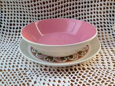 Hey, I found this really awesome Etsy listing at https://www.etsy.com/listing/230225314/vintage-mikasa-bowl-and-plate-set-pink