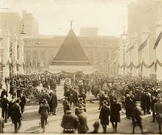 Pyramid of captured German helmets outside Grand Central Terminal, New York, ca.1918