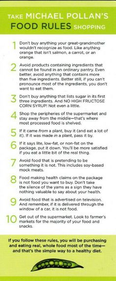 Michael Pollan's food rules. the hardest one for me is to avoid imitation meat. i know i eat too much of it.