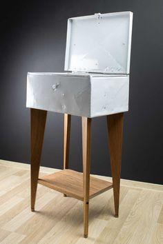 Refurbished WWII ammunition box with dark red meranti wooden legs