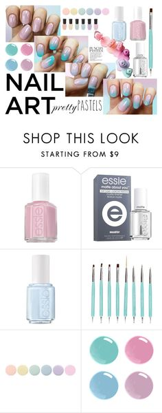 """Nail art: Pretty pastels"" by hola-hi ❤ liked on Polyvore featuring Essie, Deborah Lippmann, nailart, pretty, pastels and prettypastels"