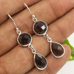 925 Sterling Silver Natural SMOKY QUARTZ Checker Gemstones Delicate Earrings NEW #Unbranded #DropDangle