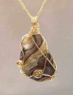Natural Abalone pendant made of 14k gold filled by OritWhiteLight